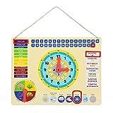 Lernuhr aus Metall, farbenfrohe Lerntafel mit Datum, Uhrzeit und Jahreszeiten, mit drehbaren Zeigern und schiebbaren Kästchen