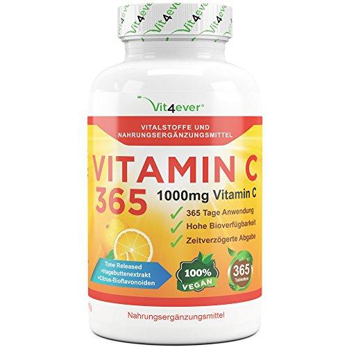 Vitamin C 1000mg, 365 Tabletten, Time Released Effekt, Vitamin C + Hagebuttenextrakt & Citrus-Bioflavonoide, vegane, hochdosiert, XXL Vorratspackung, Vit4ever