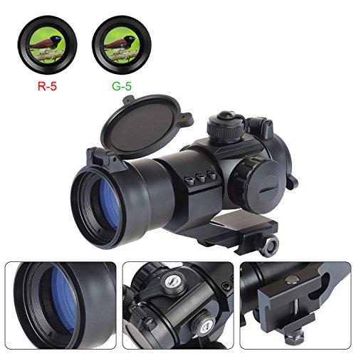 ESSLNB Red Green Dot Sight Scope Reflexvisier Reflex Sight mit 5 Helligkeitseinstellung für 20mm/22mm Weaver Oder Picatinny Railsysteme