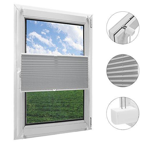 OBdeco Plissee Rollo Klemmfix ohner Bohren Faltrollo für Fenster Blickdicht Sonnenschutz Easyfix Gray 80x130cm