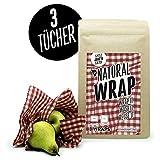 Natural Wrap Wachspapier 3er Set – Bienenwachstuch Ersetzt Alufolie Und Frischhaltefolie Enthält Zwei Tücher L 25 x 35 cm Und Ein Tuch XL 35 x 35 cm