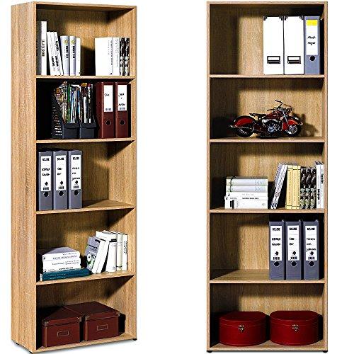 Standregal Bücherregal Wandregal Aufbewahrungsregal Holz Regal 5 Fächer Typ 3 - Farbe eiche