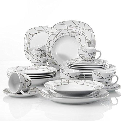VEWEET, Tafelservice Serie 'Serena' aus Porzellan 60-teilig| Kombiservice beinhaltet Kaffeetassen 175 ml, Untertasse, Dessertteller, Speiseteller und Suppenteller| Komplettservice für 6 Personen