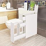 COSTWAY Badschrank Seitenschrank Nischenschrank Standschrank Küchenschrank Beistellschrank Hochschrank Mehrzweckschrank Holz weiß