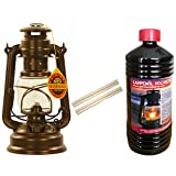 Feuerhand Set Sturm Laterne 276 Lampe Farbe Bronze, 1 Liter Lampenöl + 2 Ersatz Dochte