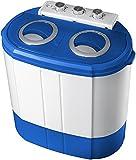 Mini Waschmaschine mit Schleuder   Campingwaschmaschine   Waschautomat   Reisewaschmaschine   Miniwaschmaschine   Camping Waschmaschine   Mobile Waschmaschine   Kleine Waschmaschine   2 Kammern   Toploader   Schleuderfunktion   Security Funktion   bis 3KG   Farbe: Blau/Weiß  