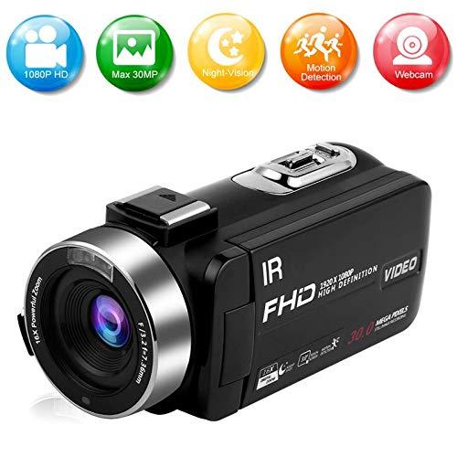 Camcorder Videokamera Full HD 1080P 30FPS 30.0MP Camcorder Kamera IR Nachtsicht 16X Zoom Vlogging Kamera mit Fernbedienung