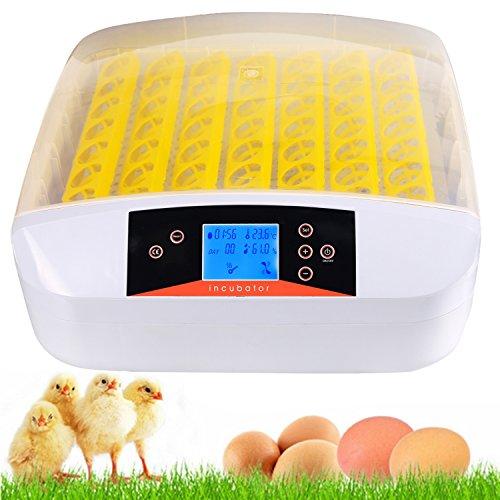 56 Eier Inkubator Brutmaschine Vollautomatisch Brutapparat Brutkasten für Hühner, Brutkasten mit LED Temperaturanzeige und Feuchtigkeitsregulierung (56 Eier)