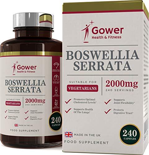 Boswellia Serrata Weihrauch-Kapseln | Hochdosiert 5:1 (entspricht 2000 mg) | 240 Kapseln | STARK ENTZÜNDUNGSHEMMEND | Muskel- & Gelenkgesundheit | Vorrat für 4 Monate | Hergestellt in GB