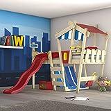WICKEY Kinderbett mit Rutsche CrAzY Hutty Hochbett mit Dach Abenteuerbett mit Lattenboden, rot-blau + rote Rutsche