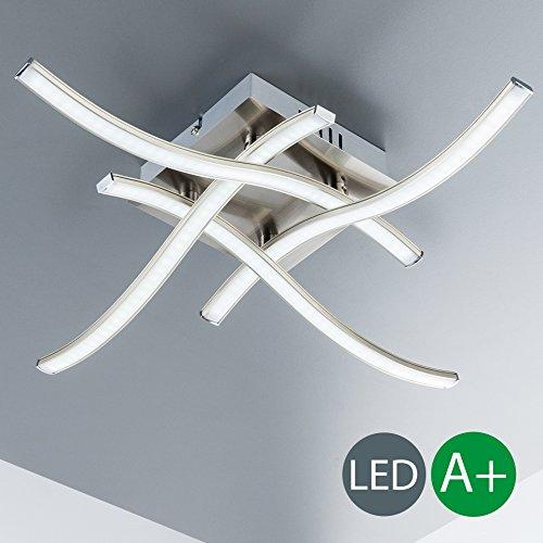 LED Deckenleuchte I 4 flammige Wohnzimmerlampe I geschwungene Deckenlampe in modernem Design I inkl. 4 x 3,4 W LED Platine I kunstvolle Esszimmerlampe I aus Metall & Kunststoff I Farbe: matt-nickel I 230 V I IP20