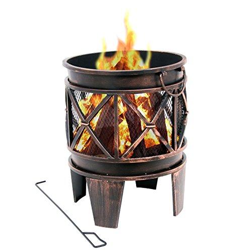 BBQ-TORO Feuerkorb 'Plum', Feuerkorb, Feuerstelle, 42 x 42 x 52,5 cm, Feuerschale in Antik-Optik