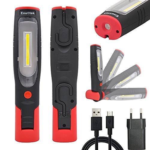 Akku 3W COB LED Arbeitsleuchte Aufladbare LED Taschenlampe Handlampe Inspektionslampe, Hohe Helligkeit 280Lm und Starke Magnete, 2200mAh Lithium ionen Akku von Enuotek