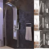 Duschpaneel Edelstahl mit Massagendüsen,Regendusche,Handbrause,Wasserfall Duschsäule (Gebürsteter Edelstahl)