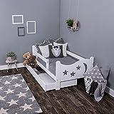 KAGU Chrisi Kinderbett Jugendbett Juniorbett Bett (140x70 cm oder 160x80 cm). Kiefernholz Massivholz inkl. Matratze und Schublade. (140 x 70 cm, Weiß)
