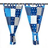 Lumaland 2er Set Kinderzimmervorhänge Gardinen für Kinder und Babys 100% Baumwolle 95 x 155 cm Patchwork