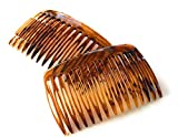 2 x Einsteckkamm ca. 7,5 x 4,7 cm havanna-braun Spaltzahn Steckkamm Made in Germany