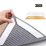 MojiDecor Antirutschmatte für Teppich, 24 Stück Anti Rutsch Teppichunterlage + 24 Stück Ersatzstreifen, waschbar Teppich Ecke Rutschfest Teppichstopper wiederverwendbar Rutschschutz für Teppich