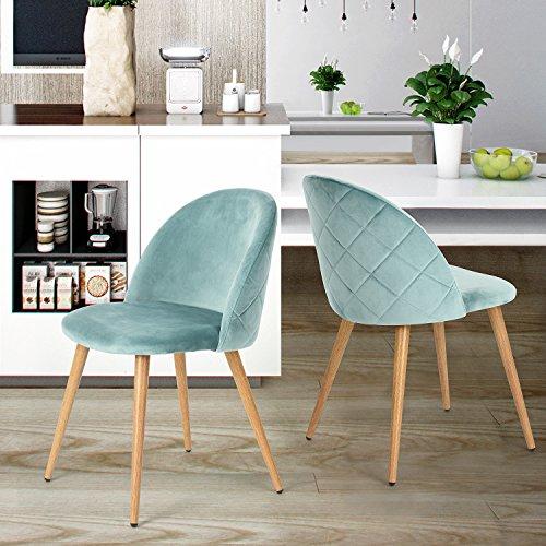 Set von 2 Esszimmer Stuhl Kaffee Stuhl Coavas Samt Kissen Sitz und R¨¹cken K¨¹che St¨¹hle mit stabilen Metall Beine f¨¹r Ess-und Wohnzimmer