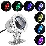 Riuty RGB-Unterwasserbeleuchtung, 10W EU-Stecker LED-Pool-Licht Außenstrahler mit Fernbedienung Scheinwerferlampe für Landschafts-Aquarium-Teich-Schwimmen-Brunnen-Garten(Silber)