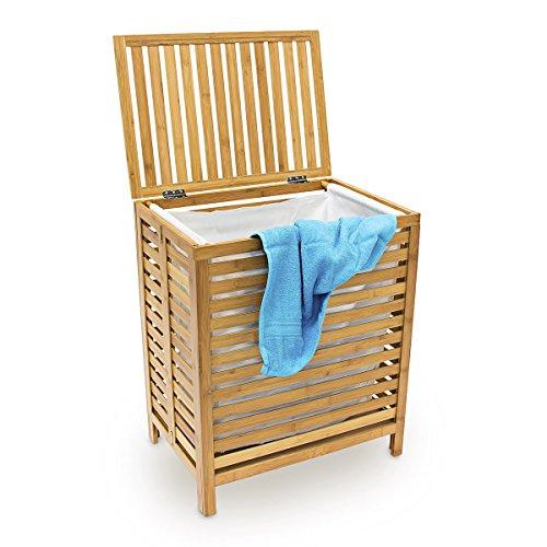 Relaxdays Wäschetruhe Holz H x B x T 60 x 50,5 x 35,5 cm Bambus Wäschebox mit einem Fassungsvolumen von 100 Litern als Wäschesammler mit luftdurchlässigem Deckel und herausnehmbaren Wäschesack, natur