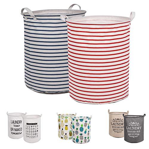 LessMo 2PCS 19.7' Wäschekorb Sortierer - Faltbar - 2er Set Wäschesammler spart Zeit beim Sortieren - Wäschesack - Wäschekörbe - Laundry Baskets - 50 x 40 cm (Streifen, Verdickt 19'/ Groß)