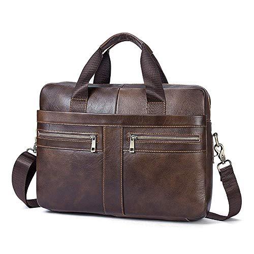 Businesstasche Herren Leder Aktentasche Männer Handtasche Vintage Laptoptasche Arbeitstasche Umhängetasche Schultertasche für 14 Zoll Notebook (a-Braun-1)