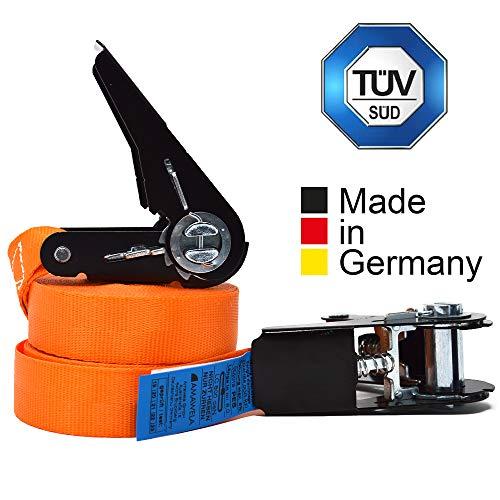 2er Set KFI-Ziegler TÜV-geprüfte Spanngurte mit Ratsche   Länge: 4 m   Ratschengurt einteilig nach EN 12195-2   Zurrgurte 400/800 kg