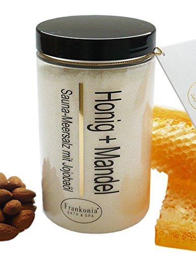 Sauna Salz Honig Mandel mit Jojobaöl, Körperpeeling 400 g