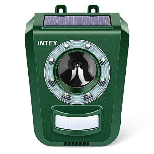 INTEY Ultraschall Katzenschreck Solar & Batteriebetrieben einstellbare Frequenz & Empfindlichkeit wetterfest Hundeschreck Tiervertreiber - Verstärkte Version