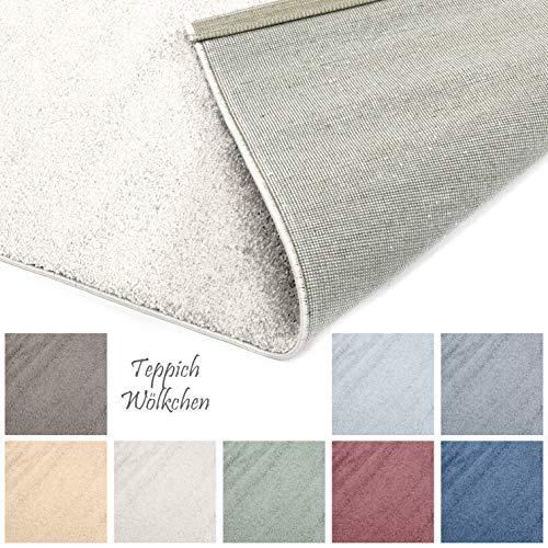 Designer-Teppich Pastell Kollektion | Flauschige Flachflor Teppiche fürs Wohnzimmer, Esszimmer, Schlafzimmer oder Kinderzimmer | Einfarbig, Schadstoffgeprüft (Natur Weiss, 80 x 150 cm)