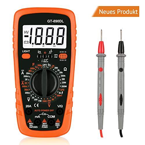 Digital-Multimeter GT-890DL Polymeter AC/DC-Elektroprüfgerät mit Widerstand Multitester mit Voltmeter, Amperemeter, Ohmmeter mit LCD-Hintergrundbeleuchtung