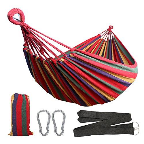 Anyoo Baumwolle Garten Hängematte Outdoor Camping Tragbare Leinwand Swing Bett Streifen Leicht mit Tragetasche für Terrasse Hof Strand Wandern Wandern