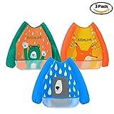3 Pack Baby lätzchen mit Ärmeln Wasserdicht Baby Fütterung Lätzchen mit langen Ärmeln Waschbare Baby Schürze für 6-36 Monate Kinder Essen Malen und Spielen