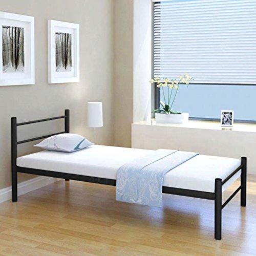 mewmewcat Metallbett Einzelbett Bettgestell Bett Metall Bettrahmen ohne 90 x 200 cm Matratze für Schlafzimmer oder Gästezimmer Schwarz