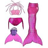 Kinder Mädchen Meerjungfrauenschwanz Meerjungfrau Flosse Schwimmanzug Badebekleidung 4pcs Bikini Sets  140 (10-12 Jahre) Rose