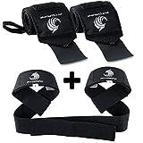 Fitgriff Handgelenk Bandagen + Zughilfen (2Paar/4Stück) Premium Fitness Set für Kraftsport, Bodybuilding und Krafttraining - für Frauen und Männer - 2 Jahre Gewährleistung (Schwarz-Original)