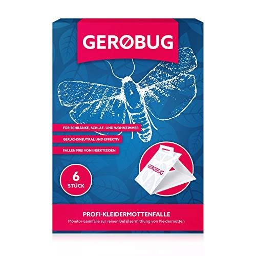 Gerobug 6 x Profi Kleidermottenfalle Profi Mottenfalle gegen Kleidermotten für effektiven Nachweis - Mottenschutz für den Kleiderschrank - Klebefalle gegen Motten inklusive E-Book