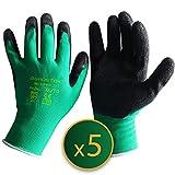 GRÜNTEK 5 Paar Gartenhandschuhe XL mit Latex-Beschichtung, Garten- und Bauhandschuhe, Arbeitshandschuhe geeignet für den privaten und gewerblichen Gebrauch (XL/10)