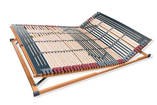 7 Zonen Lattenrost Rhodos KF - Kopf- und Fußteil verstellbar 44 Leisten Lattenroste Mittelgurt Größe 120 x 200 cm