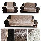 HDM Rutschfest 2-Sitzer 171x116.5 cm Sofaüberwurf Sesselschoner in Beige Soft-Touch Sofaschoner Sesselschutz Kindersofa Decke aus 100% Vakuum - Baumwolle