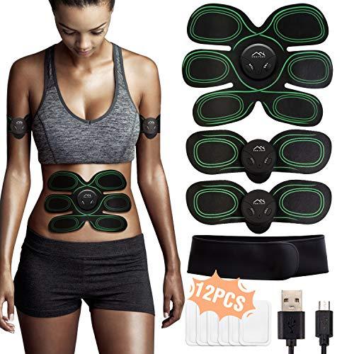 HONITURE Trainingsgerät Bauchtrainer Muskelstimulator für Arm Bauch Beine Bizeps Trizeps, Herren Damen EMS Bauchmuskeltrainer 8 Modi & 10 Funktionen, 12PCS Gel Pad, Grün,