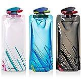 Faltbarer Wasser-Flaschen-Satz von 3, MAXIN Flexible zusammenklappbare Wiederverwendbare Wasser-Flaschen für das Wandern, Abenteuer, das Reisen, 700ML.