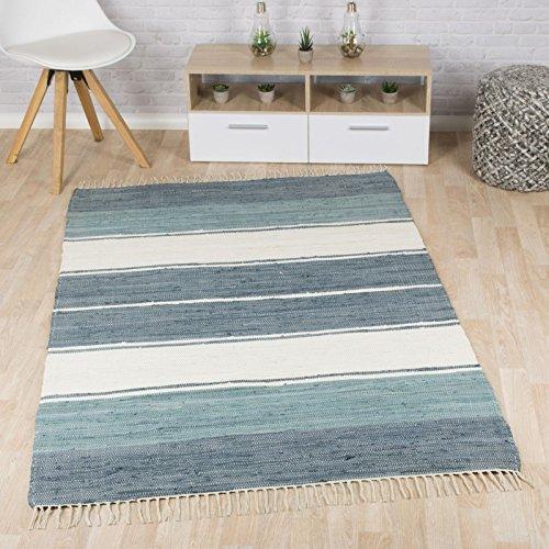Taracarpet Flachweb-Baumwollteppich handgewebter handweb-Teppich Fleckerl Amrum aus 100% Baumwolle -auch bekannt als Dhurry oder Flickenteppich gestreift blau 120x180 cm