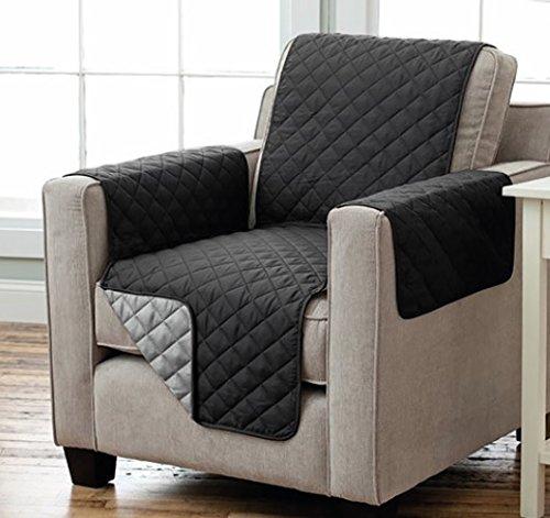 Sesselschoner Sofaschoner Sesselschutz Sofaüberwurf (1-Sitzer 91 x 165 cm, schwarz/anthrazit)