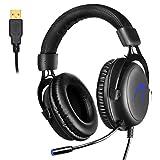 Gaming Headset PC, 7.1 Surround Sound Gaming Kopfhörer, JIEJIEWYD USB Headset mit Mikrofon LED-Licht(Schwarz/Blau)