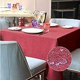 LUOLUO Tischdecke Leinenoptik Tischtuch Leinen Tischdecken Abwaschbar Outdoor Pflegeleicht Wasserdicht 140x180cm Rot