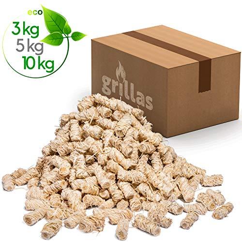 grillas Bio-Kaminanzünder 10 kg aus Holzwolle, in Wachs getränkt | Kohleanzünder | Grillanzünder | Wachsanzünder | Anzündwolle | Anzündhilfe