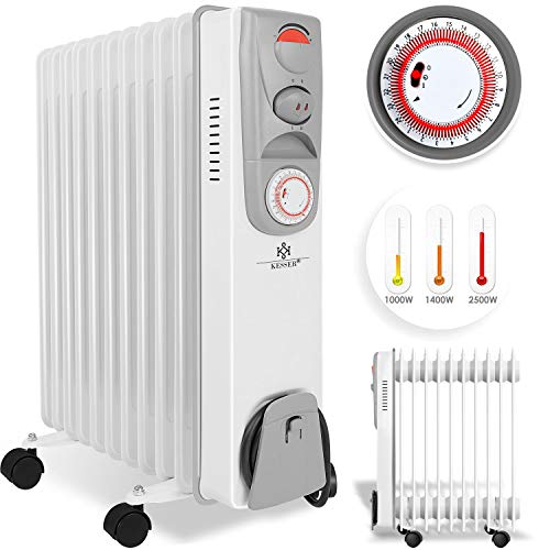 KESSER Ölradiator - Elektrische Heizung mit 11 Rippen 2500W Öl Radiator Elektroheizung Mobil Timer Lüfter Abschaltautomatik stufenlose Temperaturregelung Überhitzungsschutz