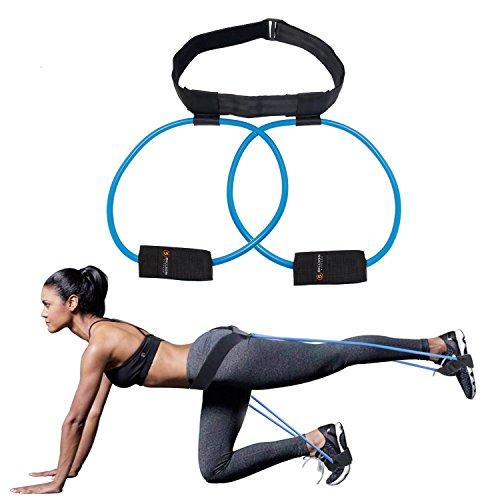 5BILLION Booty Bands Set Widerstandsbänder - für einen Bikini Hintern Glutes Muscle Hüftgurt verstellbares Training mit Tragetasche und eine vollständige Übung Guide (Blau)